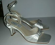 Touch Ups white satin rhinestone buckles ankle strappy wedding heels. 7.5 NWOB