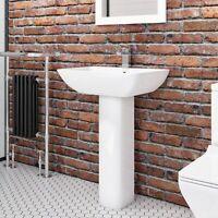 500mm Square Basin & Full Pedestal 1 Tap Hole White Ceramic Bathroom Sink