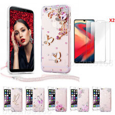 Phone Cases And Glass Screen Protector films & Ncek Crystals Strap For LG 1