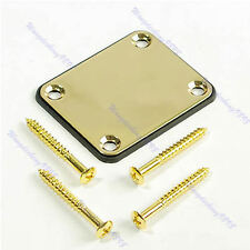 Gold Neck Plate W/Screw For Neck Fender Strat Guitar Parts Accessory + 4 Screws