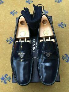 Prada Mens Shoes Blue Leather Loafers Drivers UK 10 US 11 EU 44 Saffiano Logo