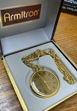 gold tone W/ Box F226 Vintage Armitron wind up Pocket Watch