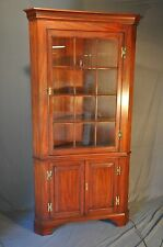 Henkel Harris 12 Pane Cherry Corner Cabinet Model # 1114HL  Lighted Interior