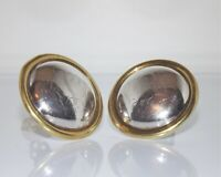 Vintage Taxco Mexico Signed LATON TR-01 925 Sterling Silver Brass Clip Earrings
