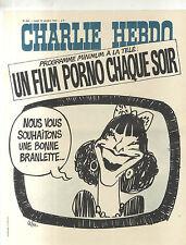 AFFICHE ANCIENNE DE KIOSQUE CHARLIE HEBDO TELEVISION CABU 1974