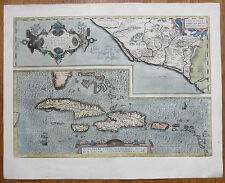 Ortelius Original Colored Map California Cuba Jamaica Dominican Republic - 1595