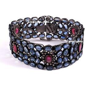 Natural Ruby Kyanite Gemstone Pave Diamond 925 Sterling Silver Bracelet 14