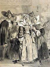 Lithographie avant lettre HIPPOLYTE LALAISSE Costume Religieuse BRETAGNE c1850
