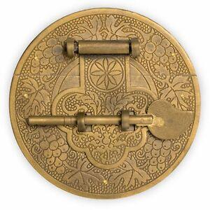 "CBH Chinese LONGEVITY Brass Chest Box Hardware Backplate Latch Decorative 4"""