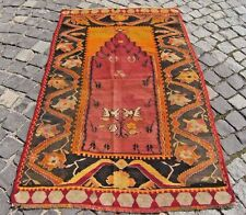 Semi- Antique,Turkish  Anatolian,  Prayer  Desingn  Kilim  Rug,  37'' X 57,8''