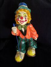 """Vintage Paper Mache Clown Standing Unsigned 12"""" Tall"""