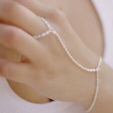 GRECIAN STYLE HAND CHAIN FINE SILVER PLATED SLAVE BRACELET BLACKTHORN BRIDAL