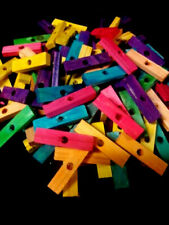 "50 Wood Blocks 2"" Colored Wooden Parrot Bird Toy Parts W/ 1/4"" Hole"