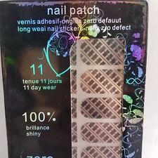 16 Silver Nail Patch Foils with Black Square & Line Design