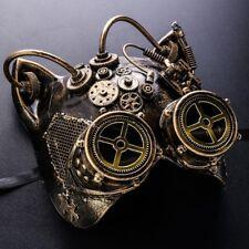 Cat Steampunk Gear Masquerade Halloween Prom Ball Mask Full Face Eye Goggle Gold
