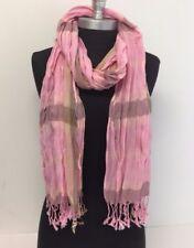 NEW Women Long Soft Fringe Scarf Fashion Crinkle Cotton Blend Wrap Shawl Pink