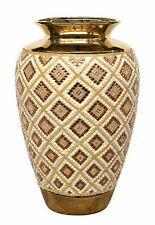 "20""H Gold Jeweled Decorative Handcrafted Vase Urn Bowl"