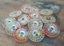 ♥Nr.179-Zauberhafte alte Glasknöpfe kristall bemalt 13 Stück DM 22 mm ♥