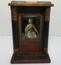 Antique 19TH CENTURY FRENCH LIMOGES ENAMEL ON COPPER PLAQUE RELIGIOUS MARY SAINT