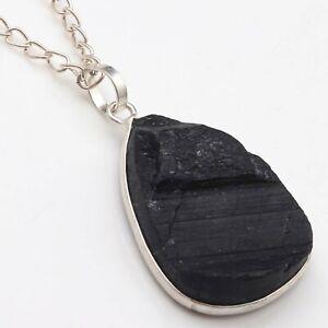 "Black Tourmaline Handmade Woman Chain Necklace 21"" Gemstone Jewellery T18190"