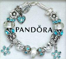 Authentic Pandora Charm Bracelet with Heart Love Blue New European Charms