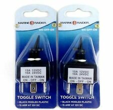 Marine Raider Boating Toggle Switches On Off On Black 15 amp At 12V DC (2 Pack)