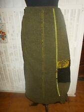 jupe long chaud laine/polyester kaki stretch empiècements PAUSE CAFE petit 46 44