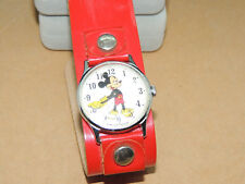 Mickey Mouse Wind up Wrist Watch Leather Band (13722)