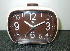 INFINITY-  RECTANGULAR CREAM COLORED CASE WITH BROWN DIAL ALARM CLOCK 13291V2449