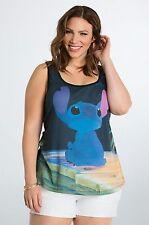 Torrid Womens T-Shirt  Disney Size  M/L Tank Top Lilo & Stitch/Scrump Black