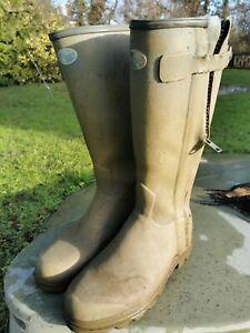 LE CHAMEAU CHASSEUR Leather Lined Wellington Boots EU 45/UK 10.5 Used