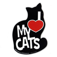 Magnetic Bumper Sticker - I Love My Cats Magnet - Silhouette