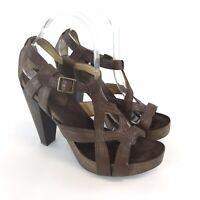 Nine West US9 W UK7 Brown Leather Peep Toes Slingback High Heels Sandals Shoes