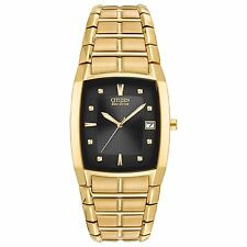 Citizen Eco-Drive Men's BM6552-52E Rectangle Case Gold-Tone Black Dial Watch