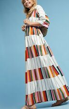 NEW Anthropologie Marimekko FREQUENCY TUULIA Maxi Tunic DRESS rainbow stripe XS