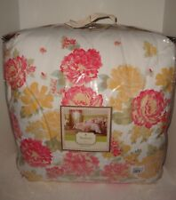 Mary Jane's Garden View Queen Comforter Shams Bed Skirt Set Pink Yellow Flowers