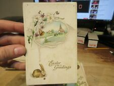 Vintage Old Antique Victorian ERA Postcard Happy EASTER Bunny Rabbit Church Bell