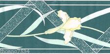 Teal Blue Green Yellow Iris Flower Floral Geometric Modern Wall paper Border