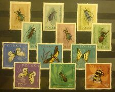 POLAND STAMPS MNH 4Fi1132-43 Sc1029-40 Mi1277-8 - Protected insects, 1961, **