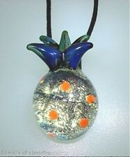 Lampwork Dichroic Color Glass Hawaiian Hala kahiki Pineapple Pendant Adjust #6