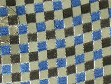 "blue black silk fabric checks boxes squares chiffon material 100% 1 yard 20""X54"""