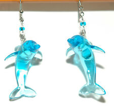 BLUE ACRYLIC DOLPHIN DANGLE EARRINGS (D357)