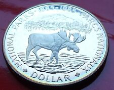 "PROOF 1985  CANADA SILVER DOLLAR 500/1000 Pretty edge toning, ""Moose"" w/Holder."