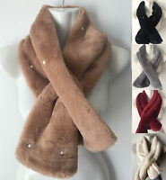 Women Warm Winter Faux Fur Collar Pearl Scarf  Stole Long Scarf Cape Shawl Wrap
