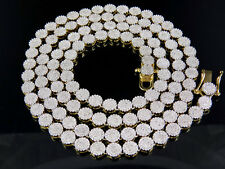 Men's 10K Yellow Gold Pave 6MM Genuine Diamond Cluster Chain Necklace 9 ct 24""