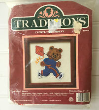 Vintage Traditions Crewel Embroidery Kit  Jogging Teddy with Frame SEALED