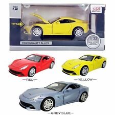 2PC 1:32 Ferrari F12 Diecast Model Car Pull Back Vehicle Kids Led Collection Toy