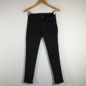 CHANEL womens authentic denim jeans pants size 26 black check skinny leg 26.0012