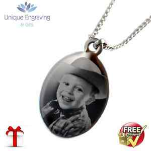 Personalised Photo / Text Engraved Oval Pendant  - Great Mothers Day Gift!