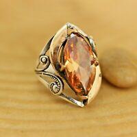 925 Sterling Silver Handmade Antique Turkish Quartz Ladies Ring Size 6-12